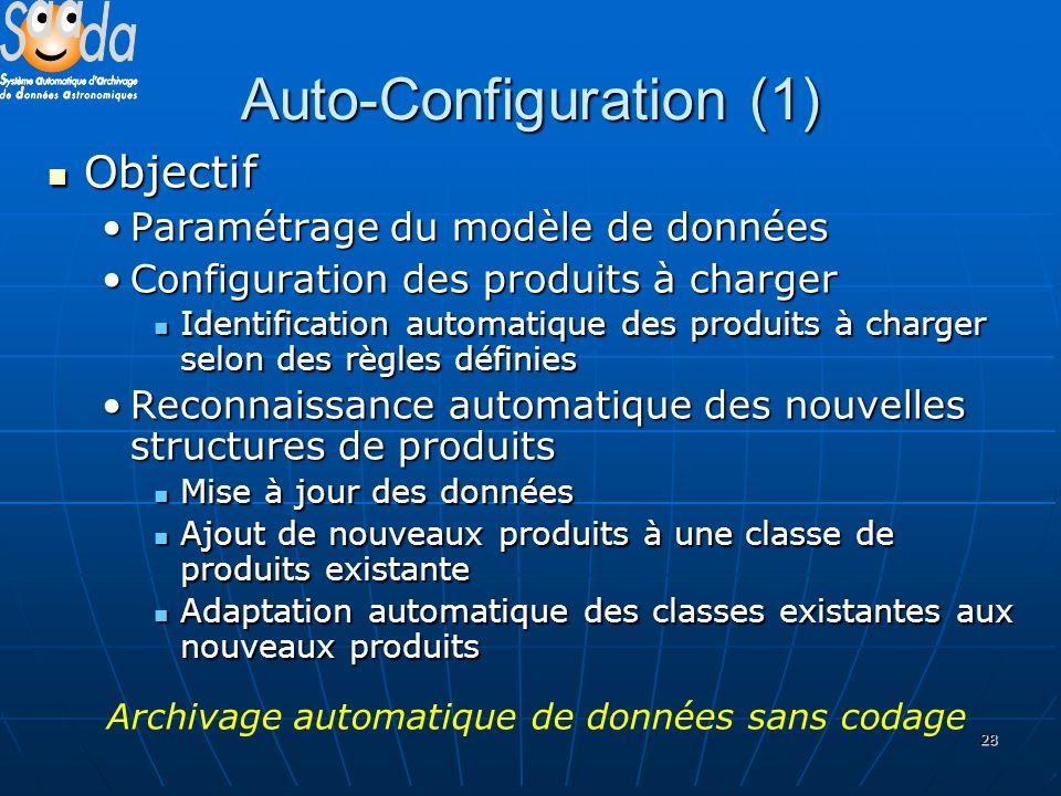 28 Auto-Configuration (1) Objectif Objectif Paramétrage du modèle de donnéesParamétrage du modèle de données Configuration des produits à chargerConfi