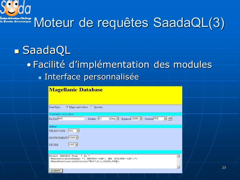 29 Moteur de requêtes SaadaQL(3) SaadaQL SaadaQL Facilité dimplémentation des modulesFacilité dimplémentation des modules Interface personnalisée Interface personnalisée