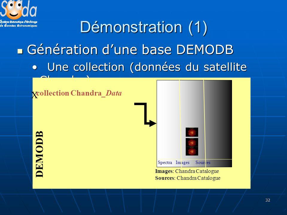 32 Démonstration (1) Génération dune base DEMODB Génération dune base DEMODB Une collection (données du satellite Chandra) Une collection (données du