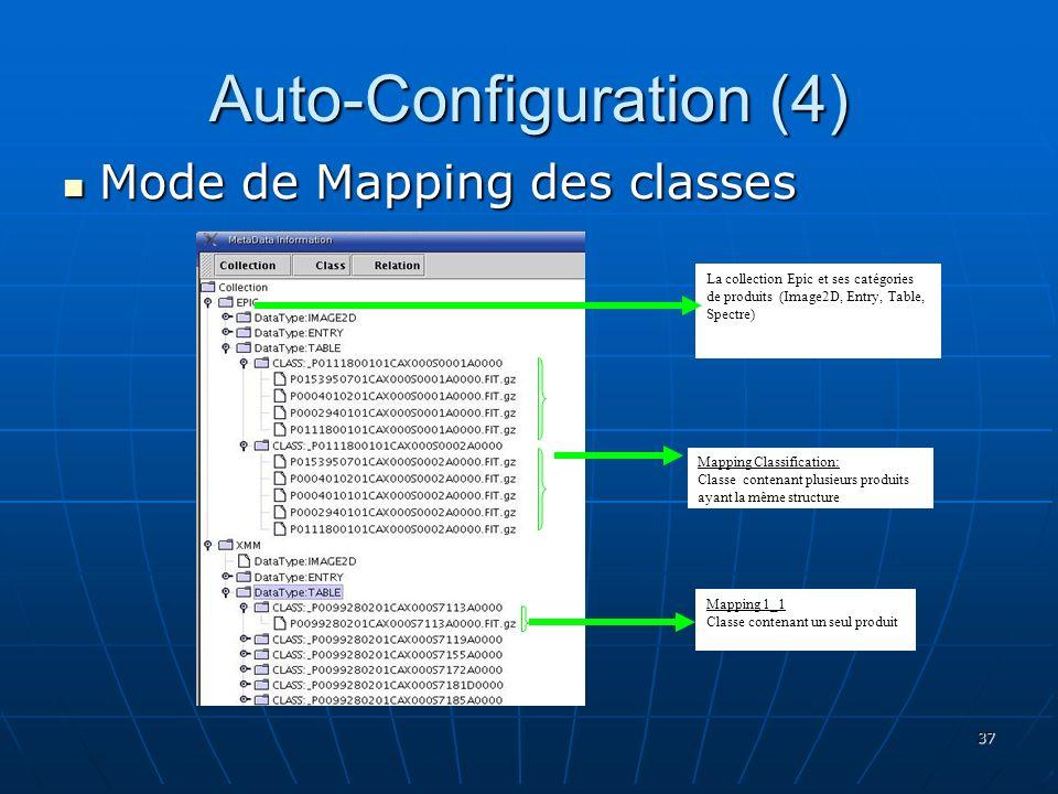 37 Auto-Configuration (4) Mode de Mapping des classes Mode de Mapping des classes Mapping Classification: Classe contenant plusieurs produits ayant la même structure Mapping 1_1 Classe contenant un seul produit La collection Epic et ses catégories de produits (Image2D, Entry, Table, Spectre)