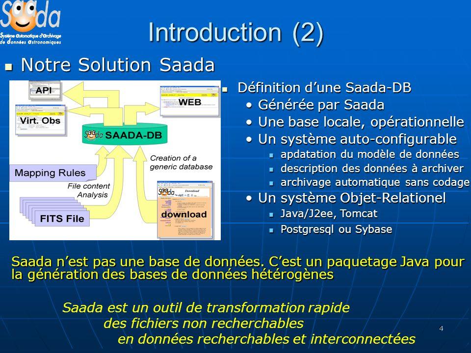 4 Introduction (2) Notre Solution Saada Notre Solution Saada Saada est un outil de transformation rapide des fichiers non recherchables en données recherchables et interconnectées Saada nest pas une base de données.