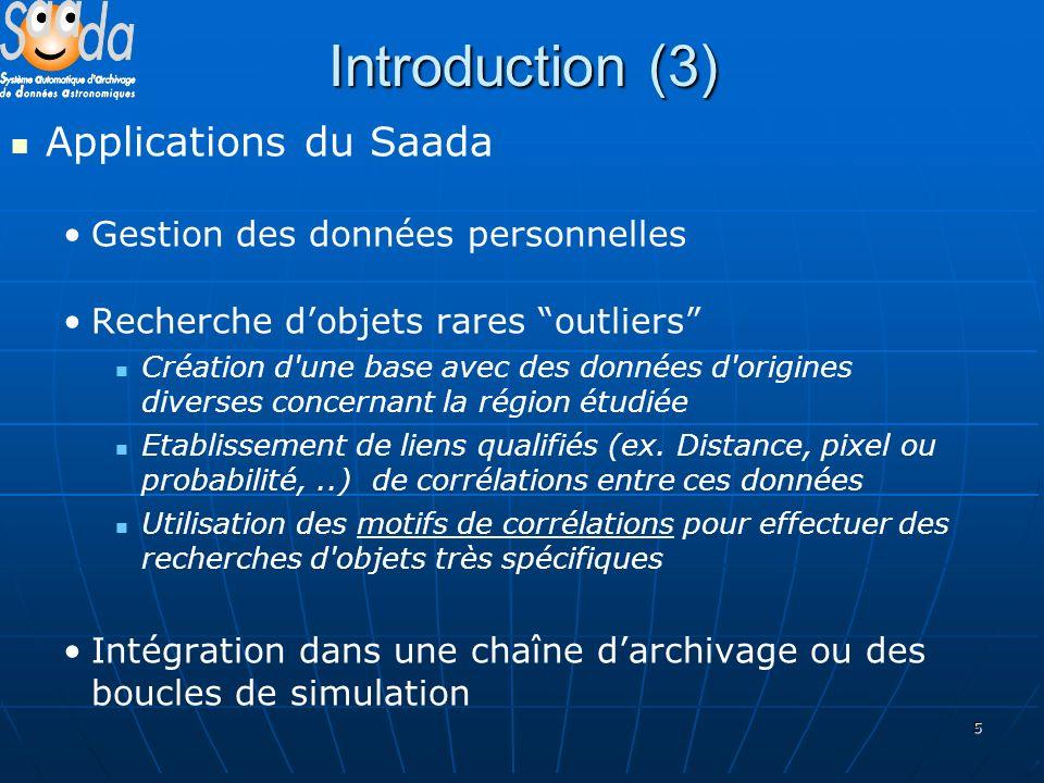 5 Introduction (3) Applications du Saada Gestion des données personnelles Recherche dobjets rares outliers Création d'une base avec des données d'orig