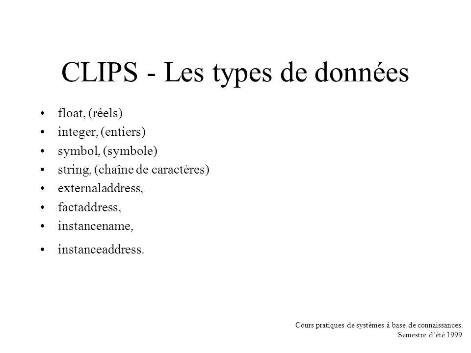 Cours pratiques de systèmes à base de connaissances. Semestre dété 1999 CLIPS - Les types de données float, (réels) integer, (entiers) symbol, (symbol