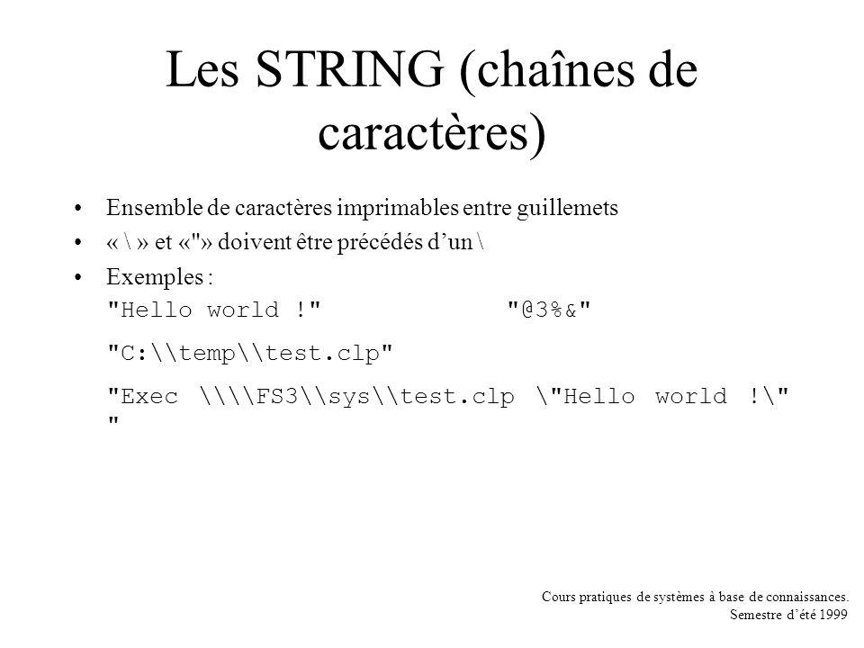 Cours pratiques de systèmes à base de connaissances. Semestre dété 1999 Les STRING (chaînes de caractères) Ensemble de caractères imprimables entre gu