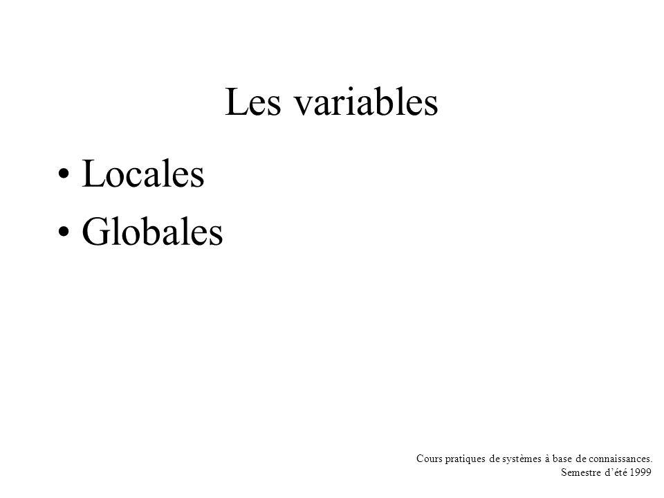 Cours pratiques de systèmes à base de connaissances. Semestre dété 1999 Les variables Locales Globales