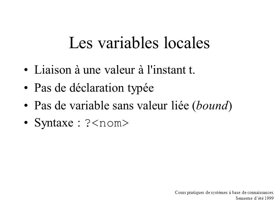 Cours pratiques de systèmes à base de connaissances. Semestre dété 1999 Les variables locales Liaison à une valeur à l'instant t. Pas de déclaration t