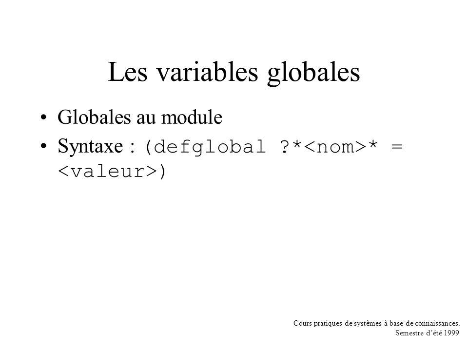 Cours pratiques de systèmes à base de connaissances. Semestre dété 1999 Les variables globales Globales au module Syntaxe : (defglobal ?* * = )