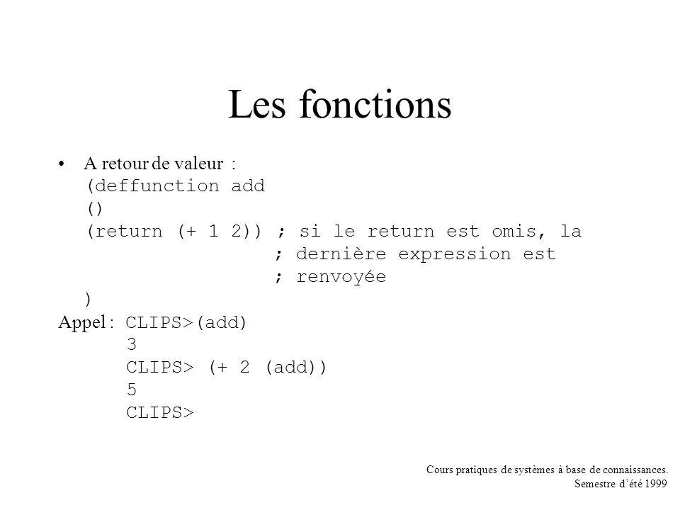 Cours pratiques de systèmes à base de connaissances. Semestre dété 1999 Les fonctions A retour de valeur : (deffunction add () (return (+ 1 2)) ; si l