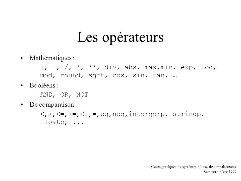 Cours pratiques de systèmes à base de connaissances. Semestre dété 1999 Les opérateurs Mathématiques : +, -, /, *, **, div, abs, max,min, exp, log, mo
