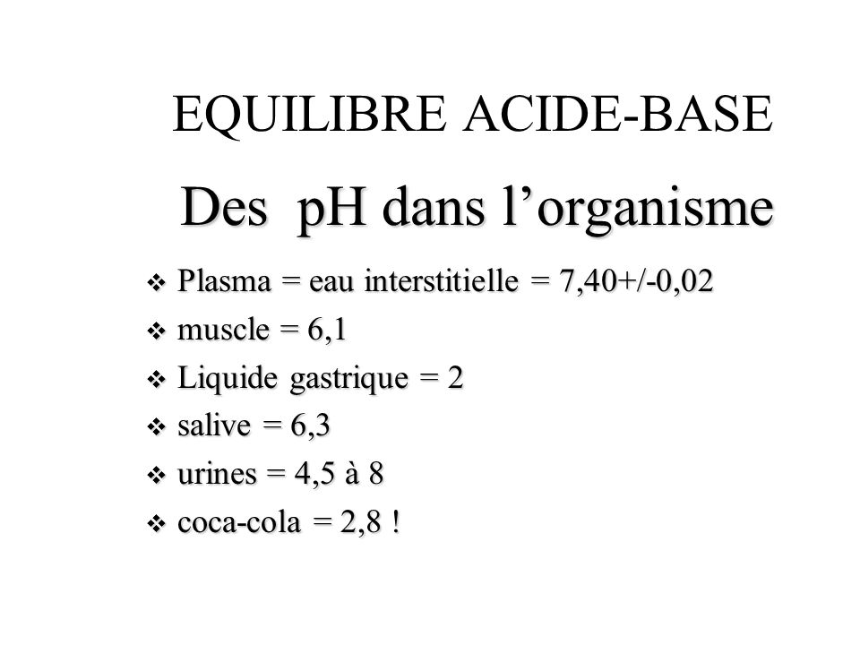 EQUILIBRE ACIDE BASE INTERPRETER DES RESULTATS n pH = 7,05pCO 2 = 2,6 KPa BE = -15 mmol /l (20 mmHg)BD =+7 mmol/l (20 mmHg)BD =+7 mmol/l ++ ACIDOSE METABOLIQUE DECOMPENSEE ACIDEMIE !