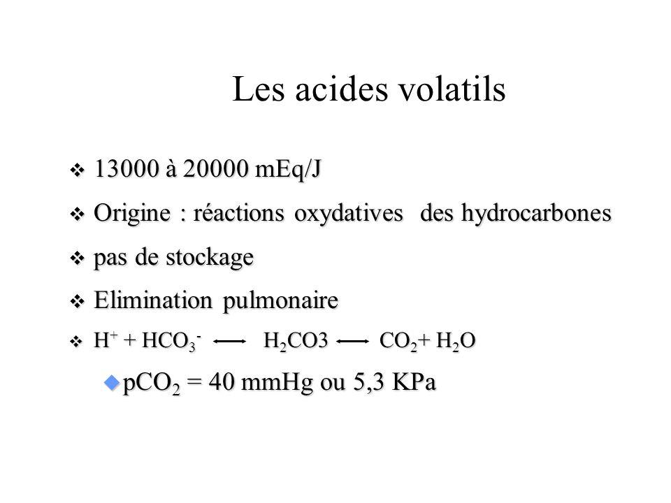 EQUILIBRE ACIDE-BASE Les acides fixes 30 à 40 mEq/m 2 /j 30 à 40 mEq/m 2 /j origine : catabolisme des aliments origine : catabolisme des aliments H 2 SO 4, PO 4 H 3, muscle : acides organiques libérés dans des circonstances pathologiques H 2 SO 4, PO 4 H 3, muscle : acides organiques libérés dans des circonstances pathologiques - acides cétoniques - acide lactique Elimination rénale Elimination rénale