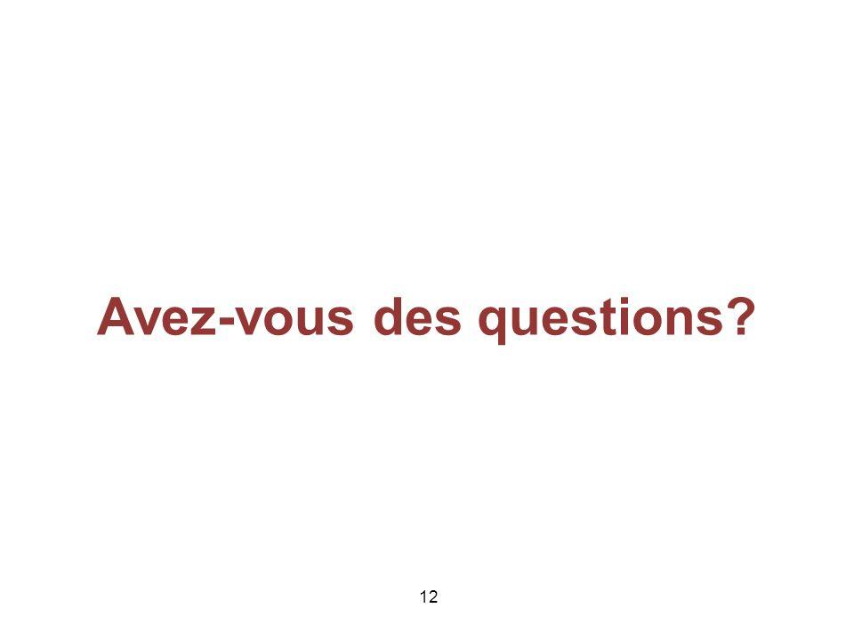 12 Avez-vous des questions