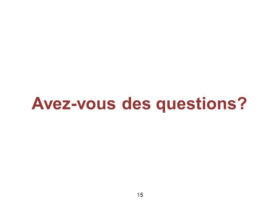 15 Avez-vous des questions