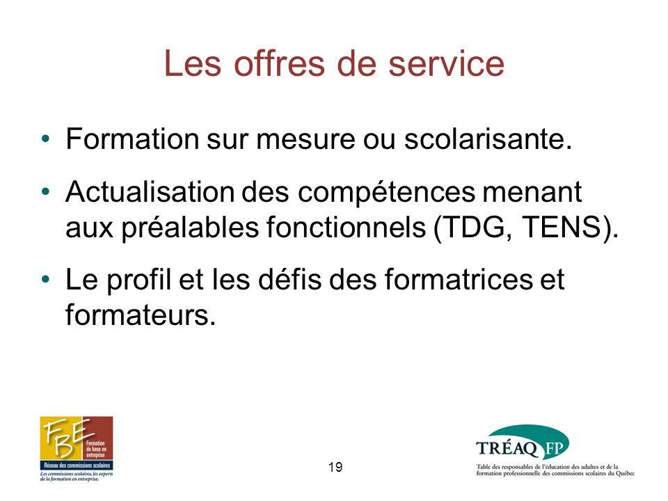 Les offres de service Formation sur mesure ou scolarisante.