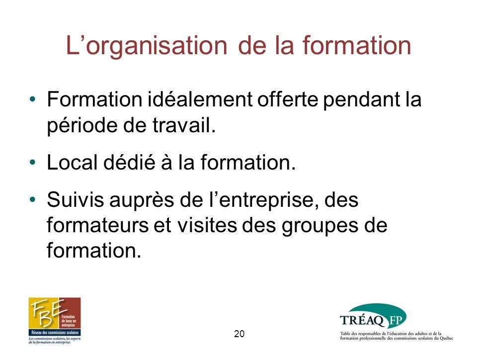 Lorganisation de la formation Formation idéalement offerte pendant la période de travail.