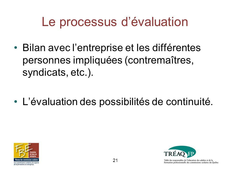 Le processus dévaluation Bilan avec lentreprise et les différentes personnes impliquées (contremaîtres, syndicats, etc.).