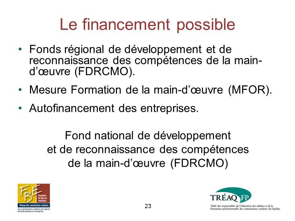 Le financement possible Fonds régional de développement et de reconnaissance des compétences de la main- dœuvre (FDRCMO).