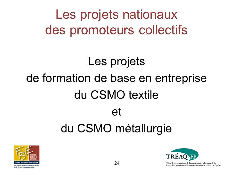 Les projets nationaux des promoteurs collectifs Les projets de formation de base en entreprise du CSMO textile et du CSMO métallurgie 24