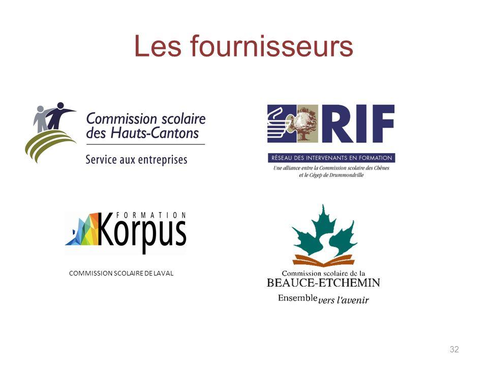 Les fournisseurs 32 COMMISSION SCOLAIRE DE LAVAL