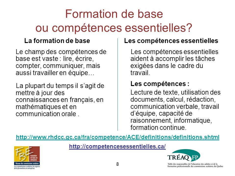 Formation de base ou compétences essentielles.