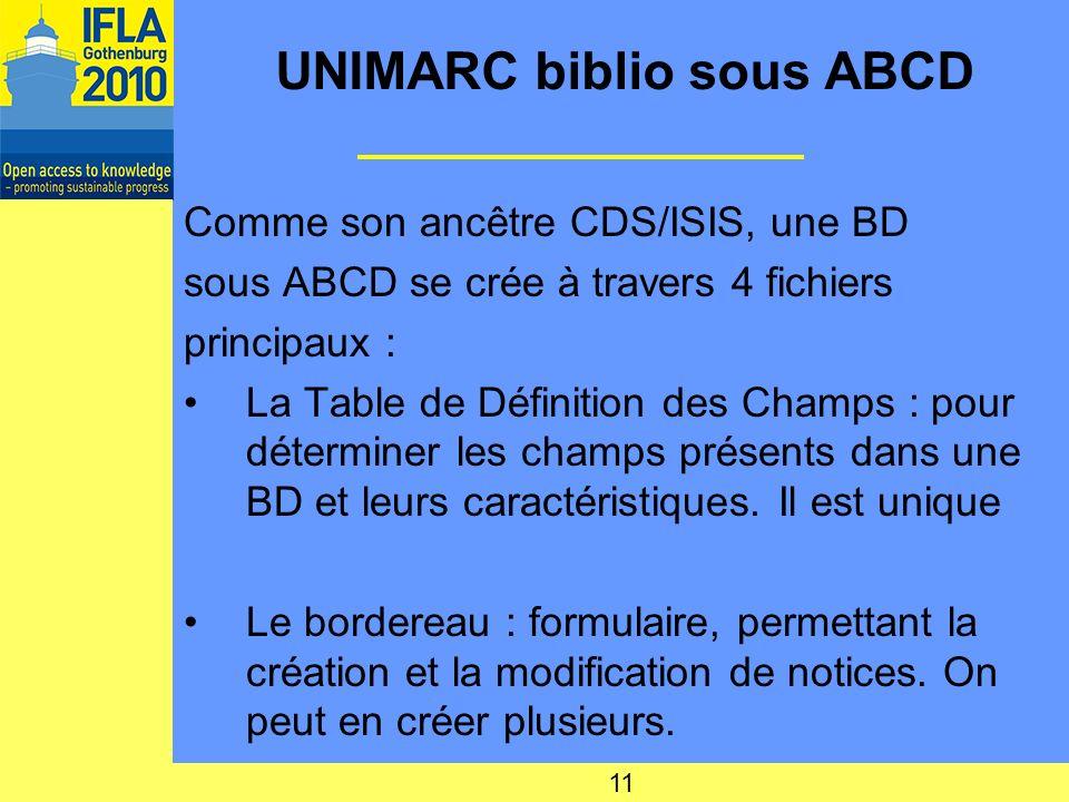 UNIMARC biblio sous ABCD Comme son ancêtre CDS/ISIS, une BD sous ABCD se crée à travers 4 fichiers principaux : La Table de Définition des Champs : pour déterminer les champs présents dans une BD et leurs caractéristiques.