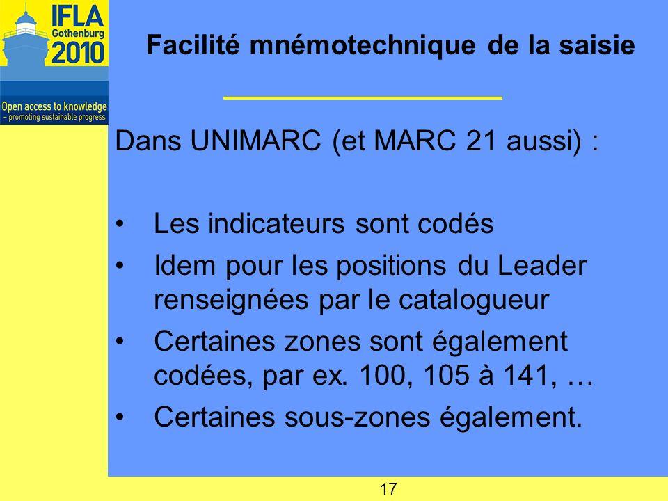 Facilité mnémotechnique de la saisie Dans UNIMARC (et MARC 21 aussi) : Les indicateurs sont codés Idem pour les positions du Leader renseignées par le catalogueur Certaines zones sont également codées, par ex.