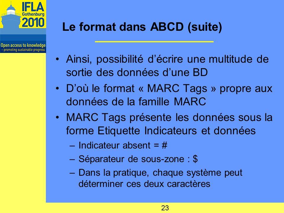 Le format dans ABCD (suite) Ainsi, possibilité décrire une multitude de sortie des données dune BD Doù le format « MARC Tags » propre aux données de la famille MARC MARC Tags présente les données sous la forme Etiquette Indicateurs et données –Indicateur absent = # –Séparateur de sous-zone : $ –Dans la pratique, chaque système peut déterminer ces deux caractères 23