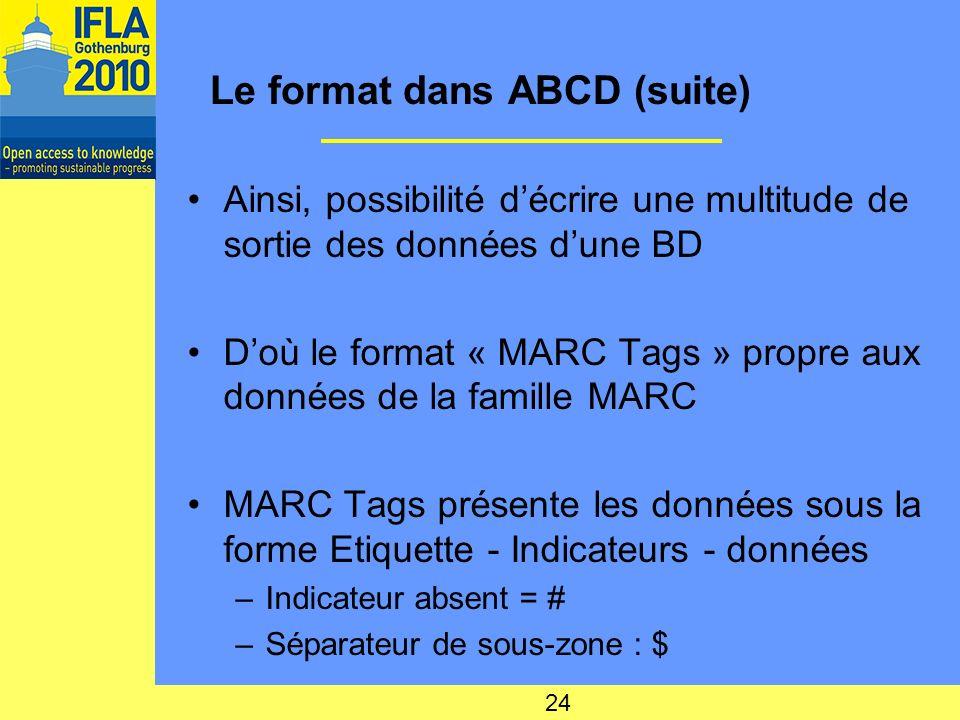 Le format dans ABCD (suite) Ainsi, possibilité décrire une multitude de sortie des données dune BD Doù le format « MARC Tags » propre aux données de la famille MARC MARC Tags présente les données sous la forme Etiquette - Indicateurs - données –Indicateur absent = # –Séparateur de sous-zone : $ 24