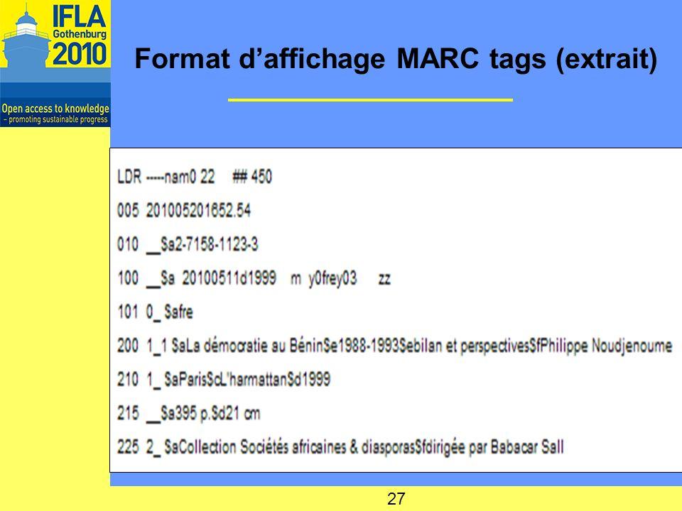 Format daffichage MARC tags (extrait) 27