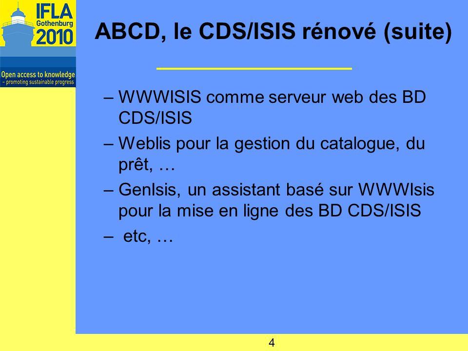 ABCD, le CDS/ISIS rénové (suite) Problématique : –plusieurs applications complémentaires pour agir sur un même type de fichier : –Pas de logiciel véritable de gestion des fonctions de bibliothèques Solution : un système intégré de gestion de bibliothèque doù ABCD 5