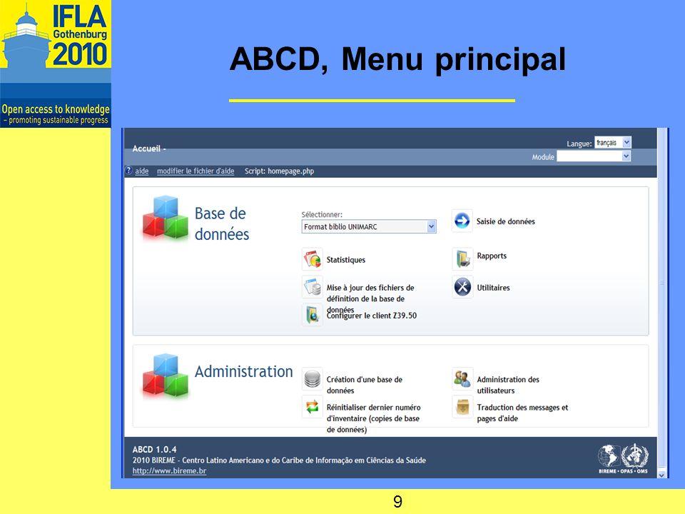 ABCD - formats de BD ABCD, interface multilingue (FR, EN, ES, PT) Possibilité de structures multilingues pour les BD avec accès aux mêmes données utilisateurs Formats de BD livrés: –MARC 21 –CEPAL (réseau en Amérique latine) Possibilités offertes à lutilisateur de créer tout type structuré de bases de données Donc possibilité UNIMARC 10