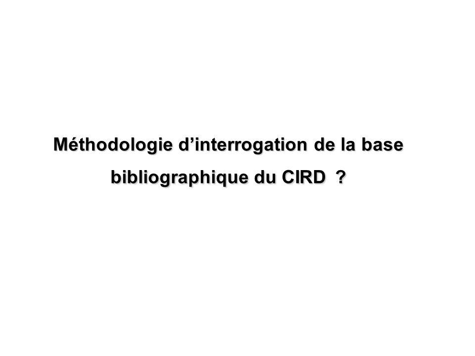 Méthodologie dinterrogation de la base bibliographique du CIRD ?