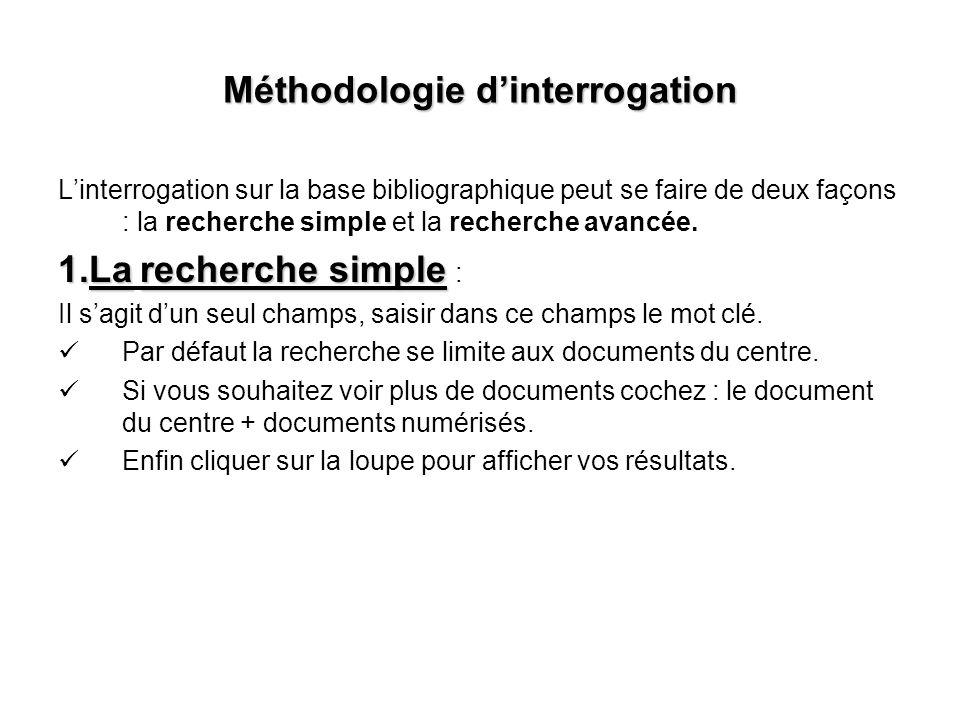 Méthodologie dinterrogation Linterrogation sur la base bibliographique peut se faire de deux façons : la recherche simple et la recherche avancée. 1.L