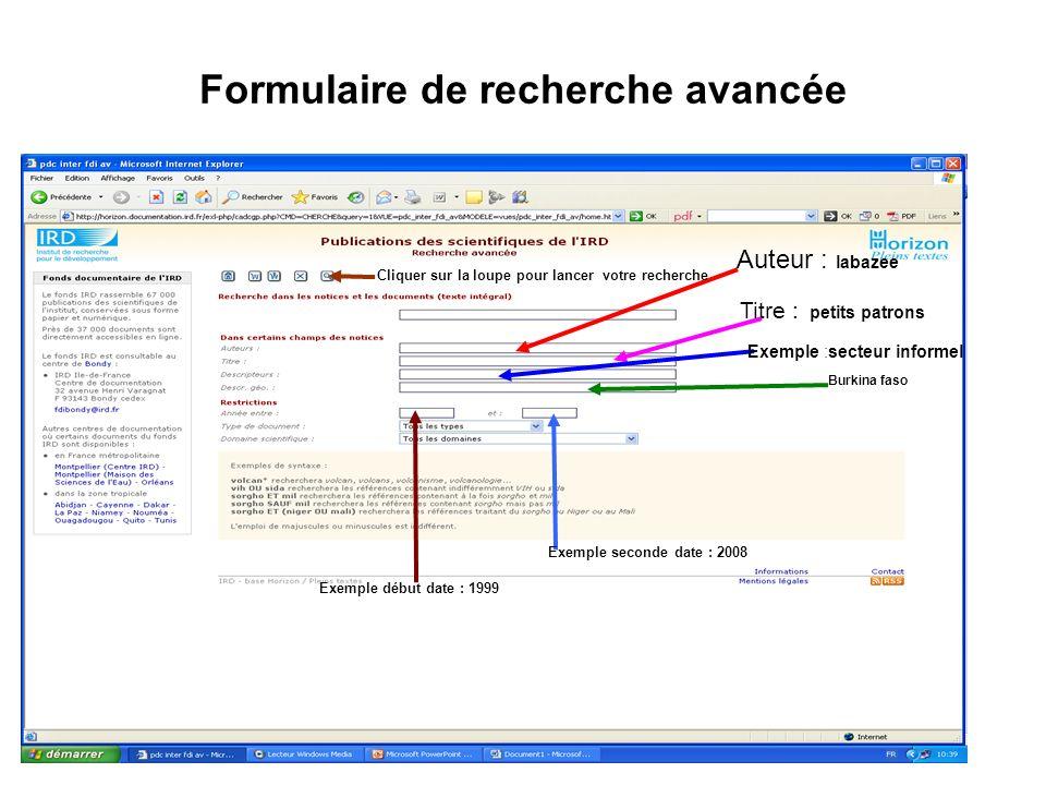Formulaire de recherche avancée Auteur : labazee Titre : petits patrons Exemple :secteur informel Burkina faso Exemple début date : 1999 Exemple secon