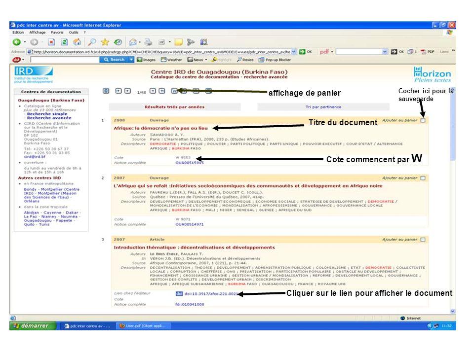 Cocher ici pour la sauvegarde affichage de panier Cote commencent par W Titre du document Cliquer sur le lien pour afficher le document