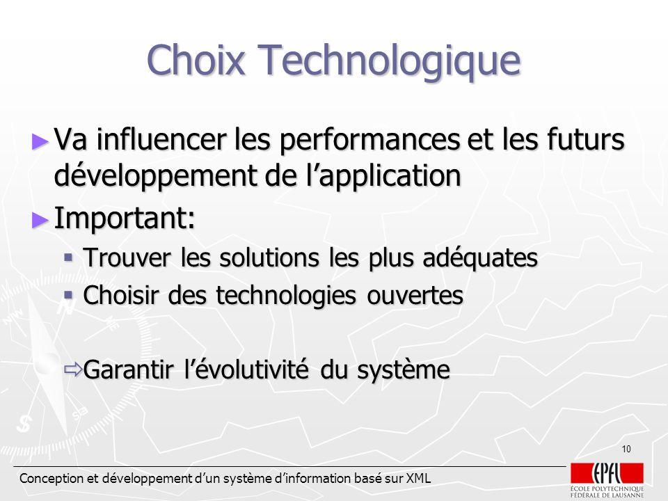Conception et développement dun système dinformation basé sur XML 10 Choix Technologique Va influencer les performances et les futurs développement de