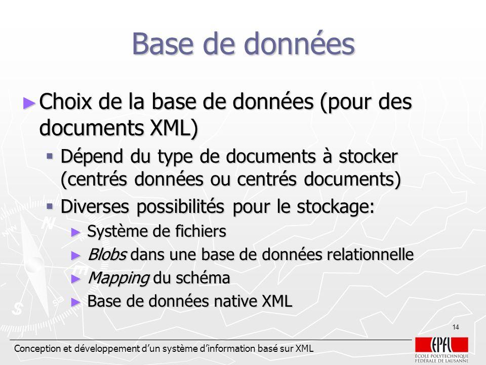Conception et développement dun système dinformation basé sur XML 14 Base de données Choix de la base de données (pour des documents XML) Choix de la