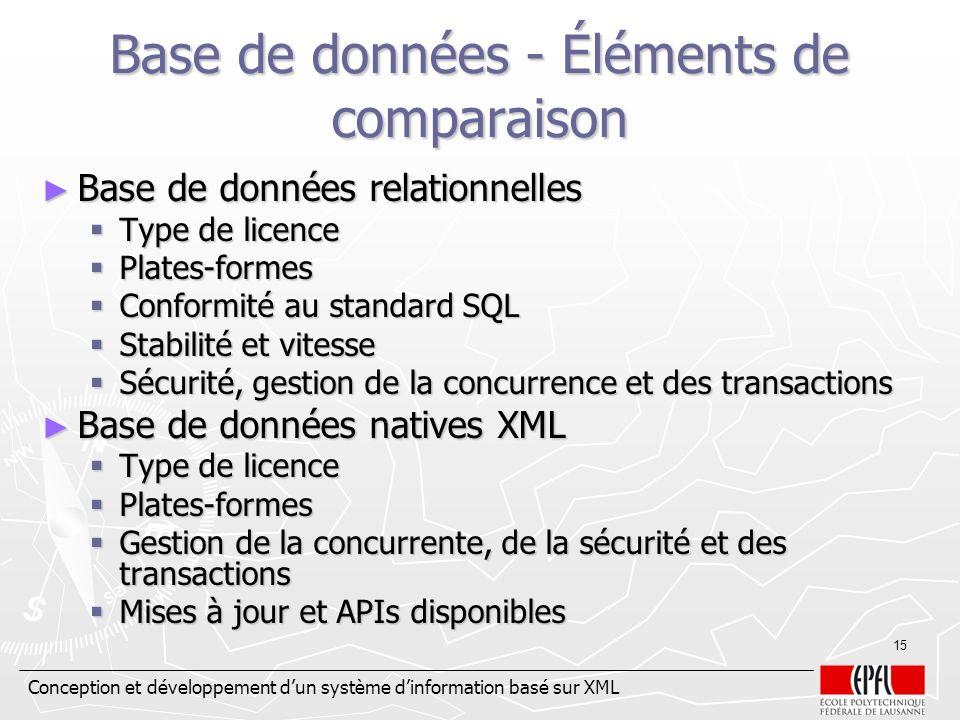 Conception et développement dun système dinformation basé sur XML 15 Base de données - Éléments de comparaison Base de données relationnelles Base de