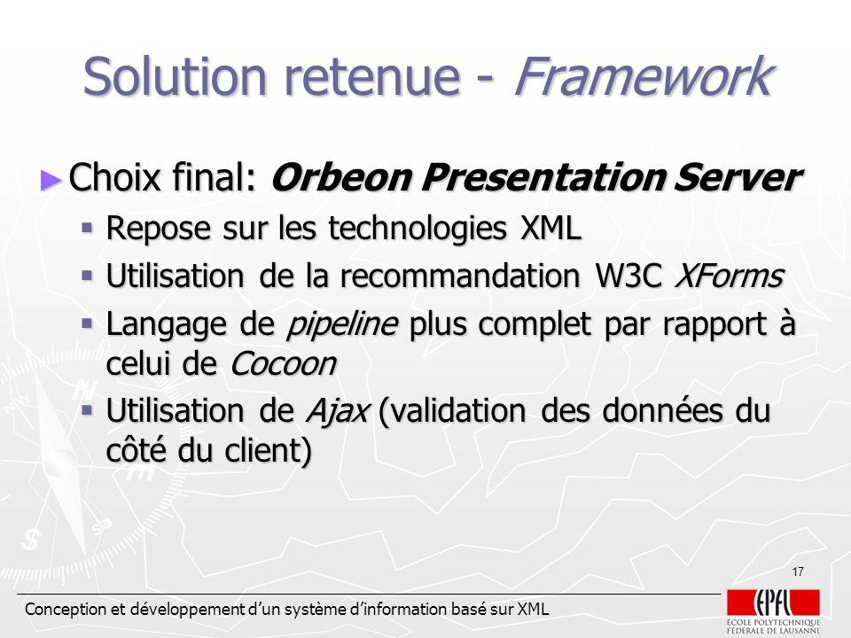 Conception et développement dun système dinformation basé sur XML 17 Solution retenue - Framework Choix final: Orbeon Presentation Server Choix final: