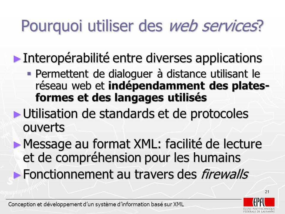 Conception et développement dun système dinformation basé sur XML 21 Pourquoi utiliser des web services? Interopérabilité entre diverses applications