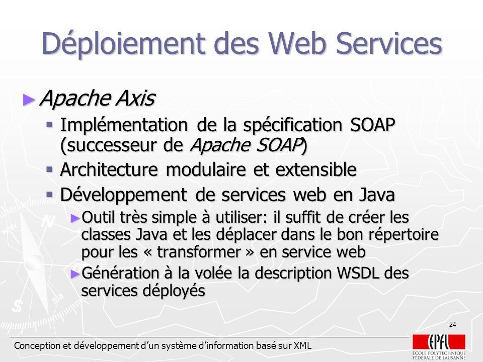 Conception et développement dun système dinformation basé sur XML 24 Déploiement des Web Services Apache Axis Apache Axis Implémentation de la spécifi