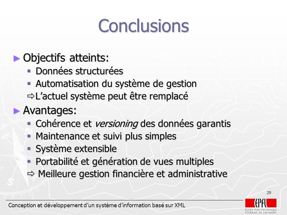 Conception et développement dun système dinformation basé sur XML 29 Conclusions Objectifs atteints: Objectifs atteints: Données structurées Données s