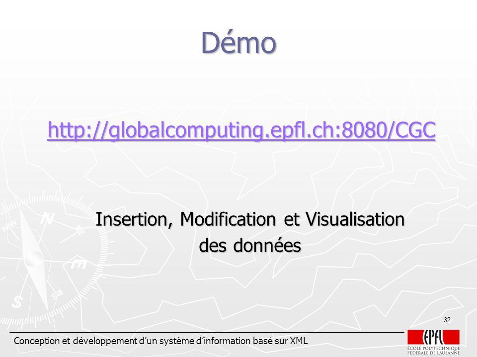 Conception et développement dun système dinformation basé sur XML 32 Démo http://globalcomputing.epfl.ch:8080/CGC http://globalcomputing.epfl.ch:8080/