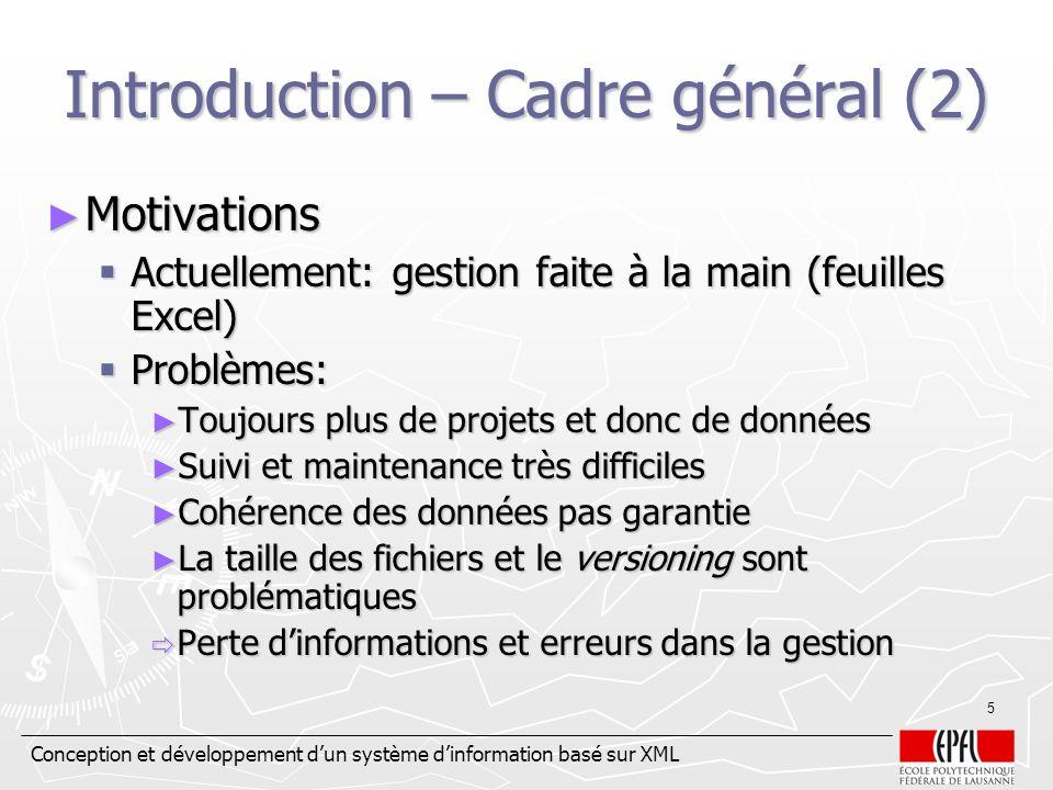 Conception et développement dun système dinformation basé sur XML 5 Introduction – Cadre général (2) Motivations Motivations Actuellement: gestion fai