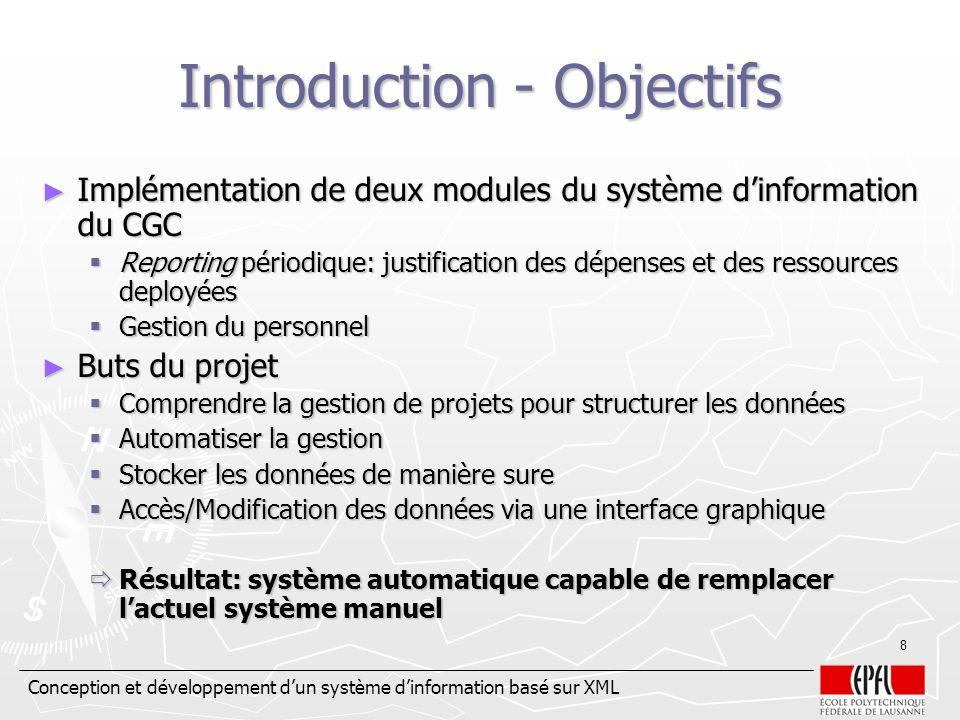 Conception et développement dun système dinformation basé sur XML 8 Introduction - Objectifs Implémentation de deux modules du système dinformation du