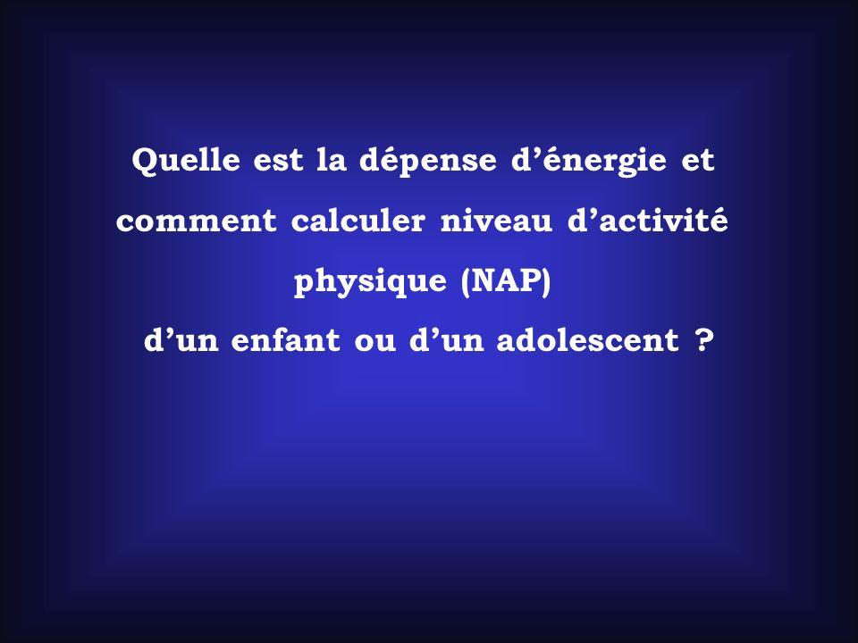Quelle est la dépense dénergie et comment calculer niveau dactivité physique (NAP) dun enfant ou dun adolescent ?