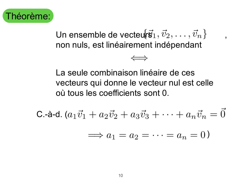 10 Théorème: Un ensemble de vecteurs, non nuls, est linéairement indépendant C.-à-d. ( ) La seule combinaison linéaire de ces vecteurs qui donne le ve