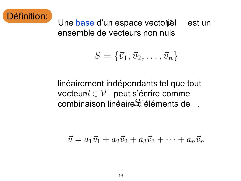 19 Définition: Une base dun espace vectoriel est un ensemble de vecteurs non nuls linéairement indépendants tel que tout vecteur peut sécrire comme co