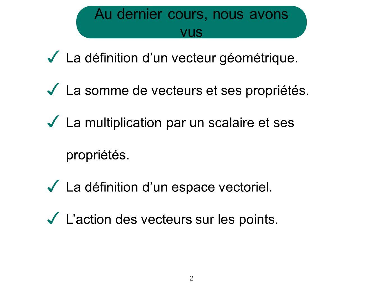 2 Au dernier cours, nous avons vus La définition dun vecteur géométrique. La somme de vecteurs et ses propriétés. La multiplication par un scalaire et