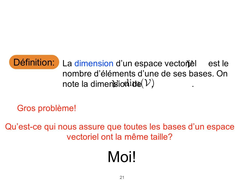 21 Définition: La dimension dun espace vectoriel est le nombre déléments dune de ses bases. On note la dimension de,. Gros problème! Quest-ce qui nous